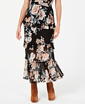 19c9bcb667 American Rag Juniors' Printed Tiered Ruffle Midi Skirt, Created for Macy's