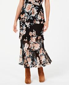 American Rag Juniors' Printed Tiered Ruffle Midi Skirt, Created for Macy's