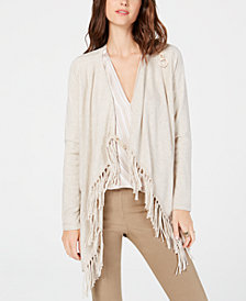I.N.C. Fringe-Trim Draped Cardigan, Created for Macy's