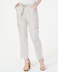I.N.C. Cargo Paper Bag Ankle Pants, Created for Macy's