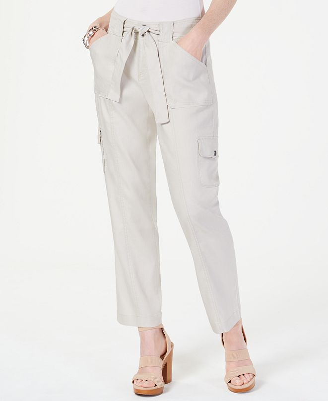 INC International Concepts INC Linen-Blend Cargo Paper Bag Ankle Pants, Created for Macy's