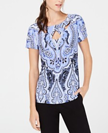 I.N.C. Printed Cutout Top, Created for Macy's
