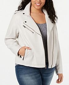 Trendy Plus Size  Faux-Leather Moto Jacket