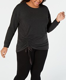 Ideology Plus Size Ruched-Side Top, Created for Macy's
