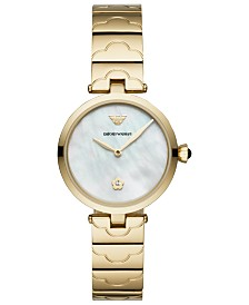 Emporio Armani Womens Gold-Tone Stainless Steel Bracelet Watch AR11198