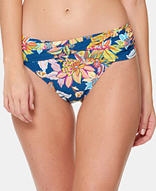 Bleu By Rod Beattie Printed Fold-Over Sarong Hipster Bikini Bottoms