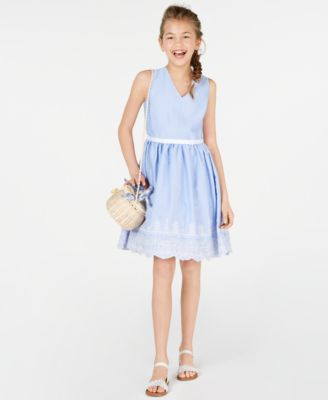 Big Girls Embroidered Gingham Dress, Created for Macy's