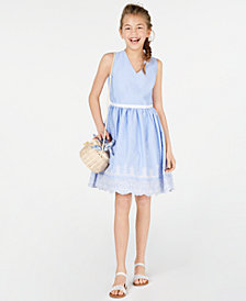 Rare Editions Big Girls Embroidered Gingham Dress, Created for Macy's