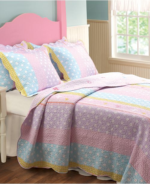 Greenland Home Fashions Polka Dot Stripe Quilt Set, 2-Piece Twin