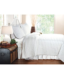 Ruffled Quilt Set, 3-Piece King