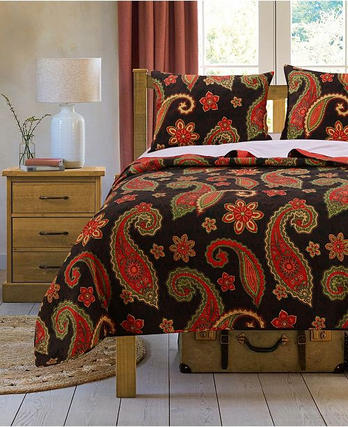 Greenland Home Fashions Midnight Paisley Quilt Set, 3-Piece Full - Queen