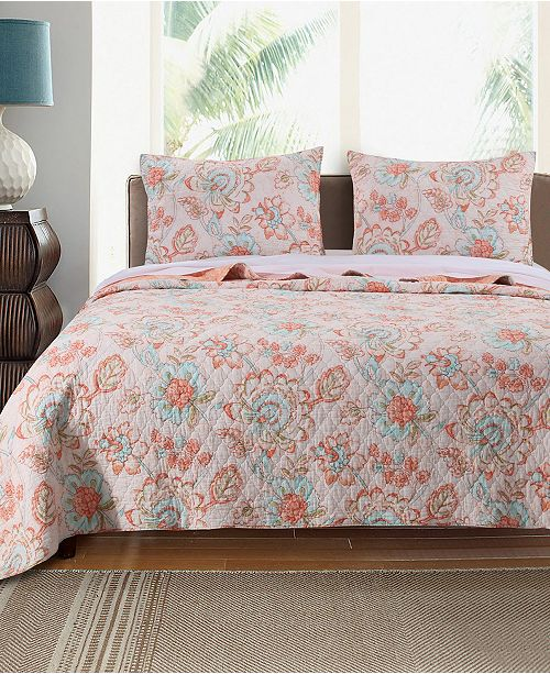 Greenland Home Fashions Cordelia Quilt Set, 3-Piece Full - Queen