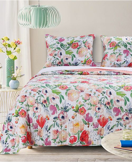 Greenland Home Fashions Blossom Quilt Set, 3-Piece Full - Queen