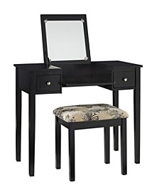Butterfly Vanity Set with Bench and Mirror, White