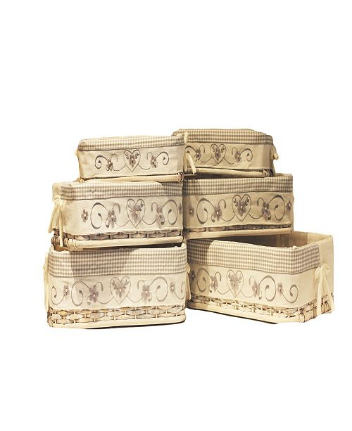 Baum Set of 6 Rectangular Rattan Storage Baskets with Embroidered Liners