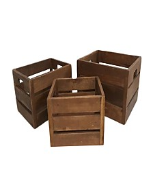 Set of 3 Wooden Storage Boxes