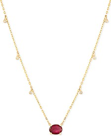 "Certified Ruby (1-5/8 ct.t.w.) & Diamond Accent 16-1/2"" Pendant Necklace in 14k Gold (Also Available In Emerald)"