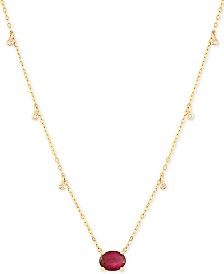 "Certified Ruby (1-5/8 ct.t.w.) & Diamond Accent 16-1/2"" Pendant Necklace in 14k Gold(Also Available In Emerald and Sapphire)"