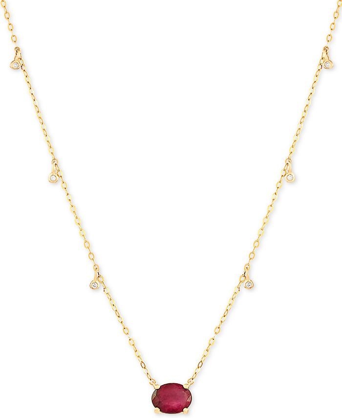 """Macy's - Certified Ruby (1-5/8 ct.t.w.) & Diamond Accent 16-1/2"""" Pendant Necklace in 14k Gold(Also Available In Emerald)"""