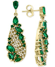EFFY® Emerald (2-7/8 ct. t.w.) & Diamond (1/3 ct. t.w.) Drop Earrings in 14k Gold
