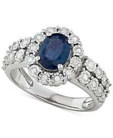 Sapphire (1-1/4 ct. t.w.) & Diamond (1/4 ct. t.w.) Ring in 14k White Gold