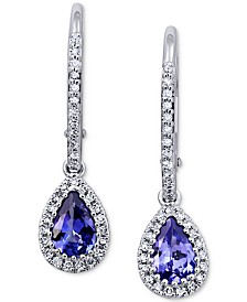 Tanzanite (3/4 ct. t.w.) & Diamond (1/5 ct. t.w.) Drop Earrings in 14k White Gold
