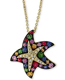 "EFFY® Multi-Sapphire (1-1/10 ct. t.w.) & Diamond (1/10 ct. t.w.) 18"" Starfish Pendant Necklace in 14k Gold"