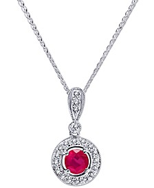 "Certified Ruby (3/4 ct. t.w.) & Diamond (1/3 ct. t.w.) 18"" Pendant Necklace in 14k White Gold"