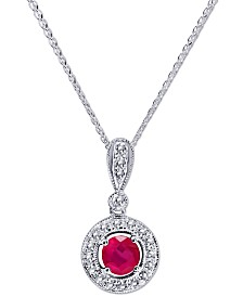 """Certified Ruby (3/4 ct. t.w.) & Diamond (1/3 ct. t.w.) 18"""" Pendant Necklace in 14k White Gold"""