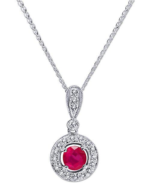 "Macy's Certified Ruby (3/4 ct. t.w.) & Diamond (1/3 ct. t.w.) 18"" Pendant Necklace in 14k White Gold"