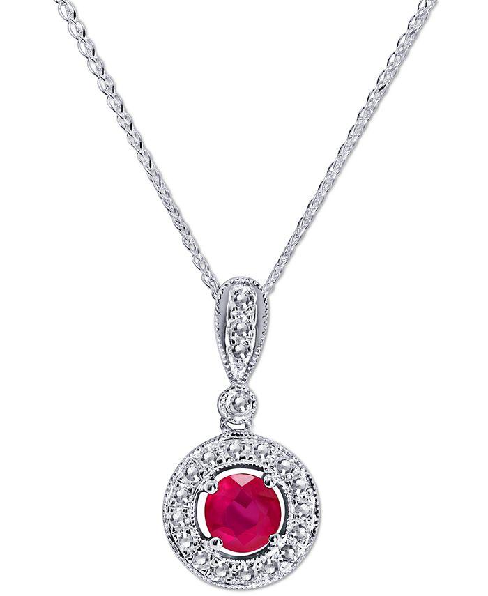 "Macy's - Ruby (3/4 ct. t.w.) & Diamond (1/3 ct. t.w.) 18"" Pendant Necklace in 14k White Gold"