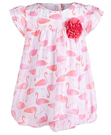 Baby Girls Flamingo-Print Bubble Romper, Created for Macy's
