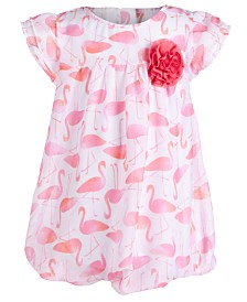 First Impressions Baby Girls Flamingo-Print Bubble Romper, Created for Macy's