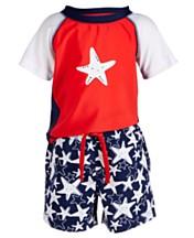 f5d34b24418cb First Impressions Baby Boys 2-Pc. Starfish-Print Swim Set, Created for