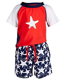 First Impressions Baby Boys 2-Pc. Starfish-Print Swim Set, Created for Macy's
