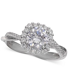 Cubic Zirconia Halo Ring in Sterling Silver, Created for Macy's