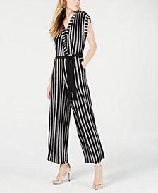 Monteau Petite Faux-Wrap Striped Jumpsuit