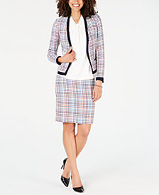Tommy Hilfiger Tweed Open-Front Jacket,  Knot-Neck Shell & Tweed Skirt