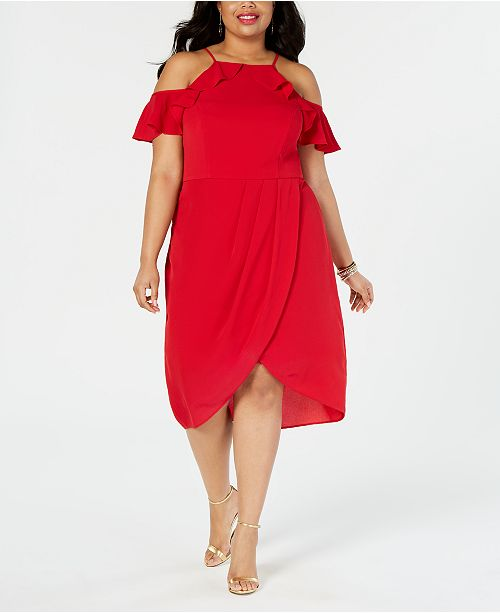 City Studios Plus Size Cold-Shoulder Ruffle-Trim Dress
