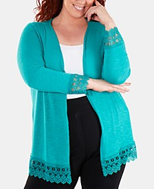 Plus Size Lace-Trimmed Open-Front Cardigan Sweater