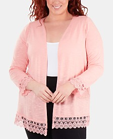 NY Collection Plus Size Lace-Trimmed Open-Front Cardigan Sweater