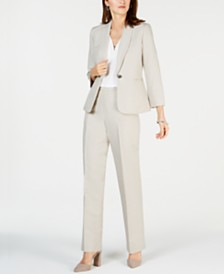 Kasper One-Button Shawl-Collar Scrunch-Sleeve Blazer, V-Neck Top & Linen Pants