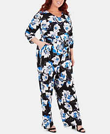 Plus Size Floral-Printed Belted Jumpsuit