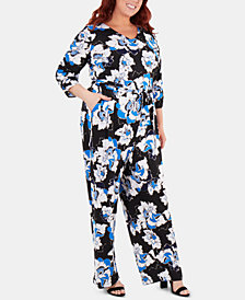 NY Collection Plus Size Floral-Printed Belted Jumpsuit