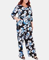 b52c3b57b08 NY Collection Plus Size Floral-Printed Belted Jumpsuit