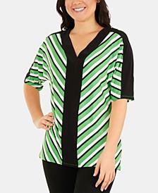 Striped Dolman-Sleeve V-Neck Top