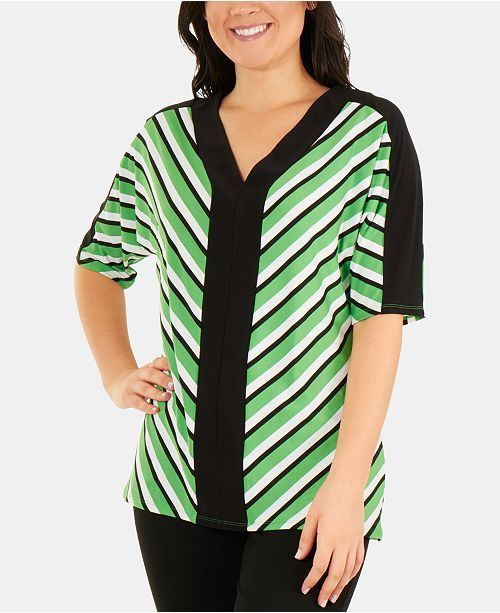 NY Collection Striped Dolman-Sleeve V-Neck Top