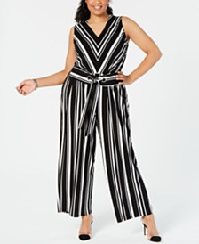 I.N.C. Plus Size Sleeveless Striped Jumpsuit, Created for Macy's