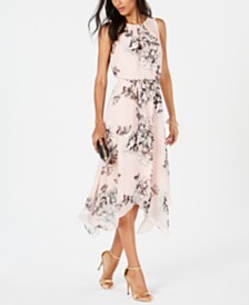 Jessica Howard Petite Floral Handkerchief-Hem Dress