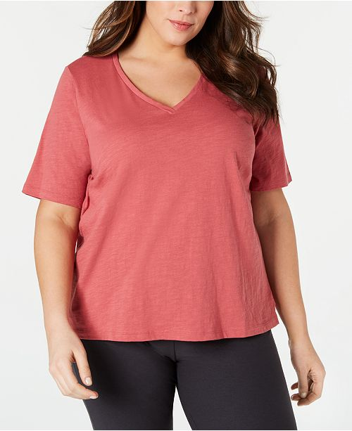 c1e78dba880 Product Details. The classic cool of cotton takes a slightly roomy shape in  this comfortable plus size V-neck T-shirt ...